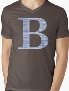 Letter B Blue Watercolor Stripes Monogram Initial Mens V-Neck T-Shirt