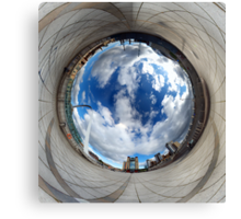 Gateshead Quayside Stereographic Projection Rabbit Hole Canvas Print