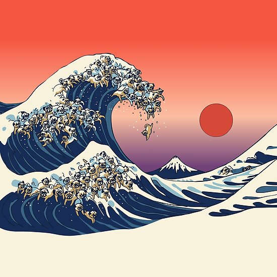 u0026quot the great wave of pug u0026quot  posters by huebucket
