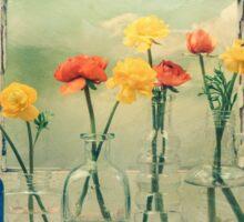 Ranunculus, Bottles and Window Floral Still Life Sticker