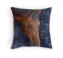 Bay Horse in Snow Throw Pillow