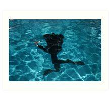 Diver moving underwater Art Print