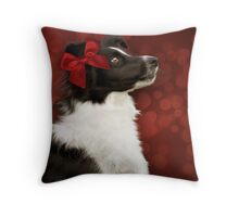 Collie on Bokeh with Big Red Bow Throw Pillow