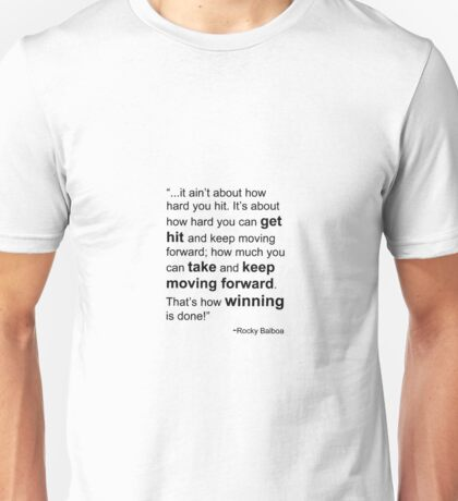 Rocky Balboa Quote How Hard You Get Hit Boxing Inspirational Unisex T-Shirt