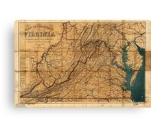 Map of the State of Virginia by W. L. Nicholson (1862) Canvas Print