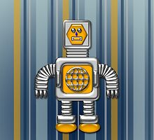 Little Gold Robot iPhone Case for Kids by Cherie Balowski