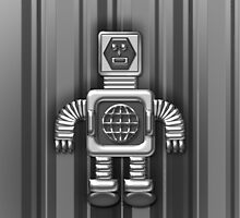 Little Black and Gray Robot iPhone Case for Kids by Cherie Balowski