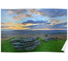 Dartmoor: Early Morning at Barn Hill Rocks Poster