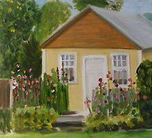 Dorrie's House and Hollyhocks by Lynn Ahern Mitchell