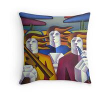 Structured musicians in landscape Throw Pillow
