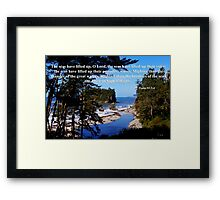 awesome ocean shore with psalm 93:3-4 Framed Print