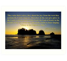 james island sunset with isaiah 24:14-16 Art Print