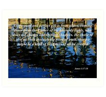 wavy reflections with james 1:17-18 Art Print