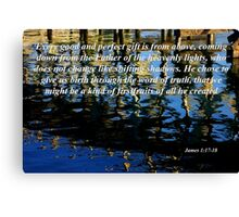 wavy reflections with james 1:17-18 Canvas Print