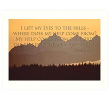 olympics sunset with psalm 121:1-2 Art Print