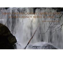 whatcom falls face with song of songs 8:7 Photographic Print