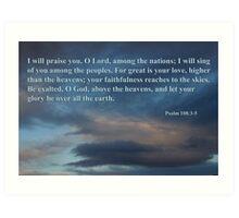 dawn sky with psalm 108 3-5 Art Print
