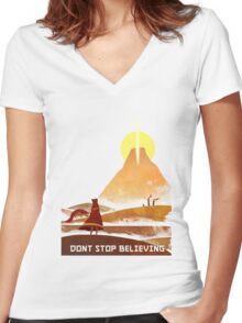 Journey On and On Women's Fitted V-Neck T-Shirt