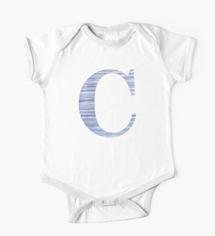 Letter C Blue Watercolor Stripes Monogram Initial One Piece - Short Sleeve