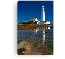 St Mary's Lighthouse Reflection Canvas Print