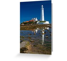 St Mary's Lighthouse Reflection Greeting Card