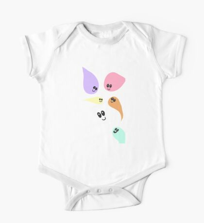 Colorful Cute Ghosts One Piece - Short Sleeve