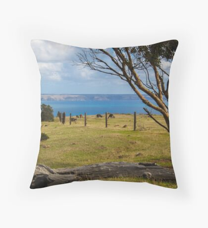 Kangaroos grazing Throw Pillow