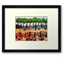 End of the pumpkin patch, watercolor Framed Print