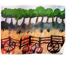 End of the pumpkin patch, watercolor Poster