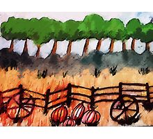 End of the pumpkin patch, watercolor Photographic Print
