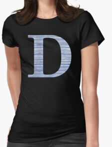 Letter D Blue Watercolor Stripes Monogram Initial Womens Fitted T-Shirt