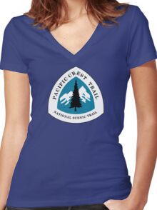 Pacific Crest National Scenic Trail Sign, USA Women's Fitted V-Neck T-Shirt