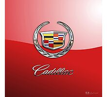 Cadillac - 3D Badge on Red Photographic Print