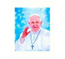 Pope Francis Lighting The Way Art Print