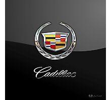 Cadillac - 3D Badge on Black Photographic Print