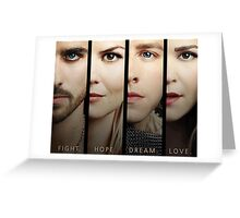 Once Upon a Time, Faces, version 1, OUAT, hook, emma swan, prince charming, snow white Greeting Card
