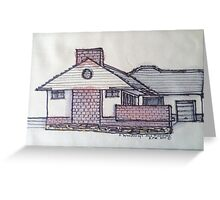 6 Woodcroft Ave St Georges Adelaide. Pen and wash on fabric. Greeting Card