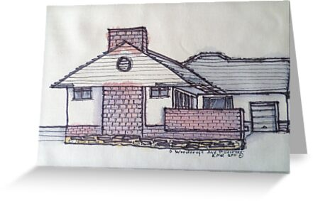 6 Woodcroft Ave St Georges Adelaide. Pen and wash on fabric. by Elizabeth Moore Golding