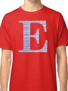 Letter E Blue Watercolor Stripes Monogram Initial Classic T-Shirt