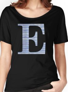 Letter E Blue Watercolor Stripes Monogram Initial Women's Relaxed Fit T-Shirt