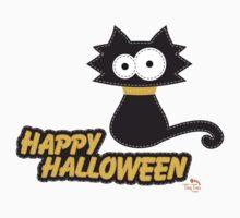Black Cat Happy Hallowen One Piece - Short Sleeve