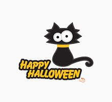 Black Cat Happy Hallowen Womens Fitted T-Shirt