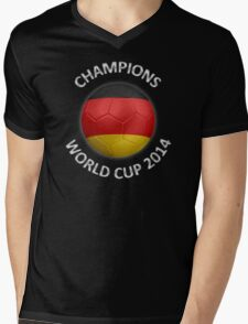 Germany - World Cup Champions 2014 - German Flag Football Soccer Ball Mens V-Neck T-Shirt