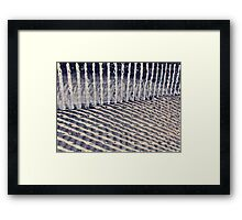 Dune Fence and Shadows Framed Print
