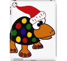 Cool Funky Colorful Turtle Wearing Santa Hat iPad Case/Skin
