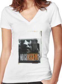 noFuckingConscience Women's Fitted V-Neck T-Shirt