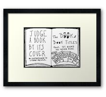 Funny Book Titles book cover cartoon Framed Print