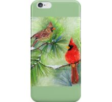 Cardinals in the Snowy Pines iPhone Case/Skin
