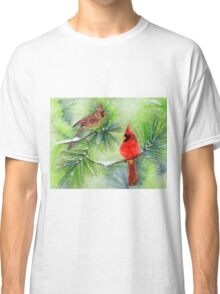 Cardinals in the Snowy Pines Classic T-Shirt