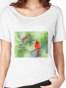 Cardinals in the Snowy Pines Women's Relaxed Fit T-Shirt